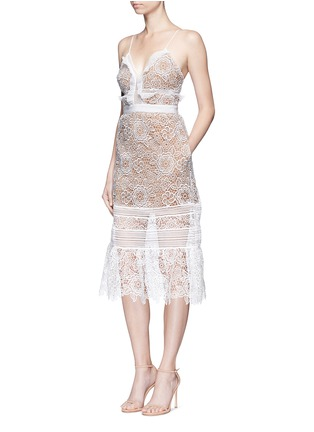 Front View - Click To Enlarge - self-portrait - 'Floral Blush' organza frill guipure lace midi dress