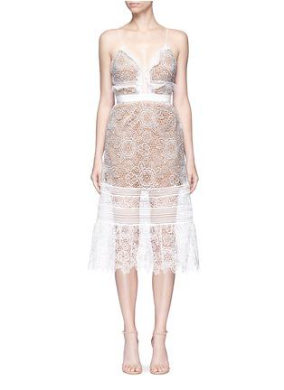 Main View - Click To Enlarge - self-portrait - 'Floral Blush' organza frill guipure lace midi dress