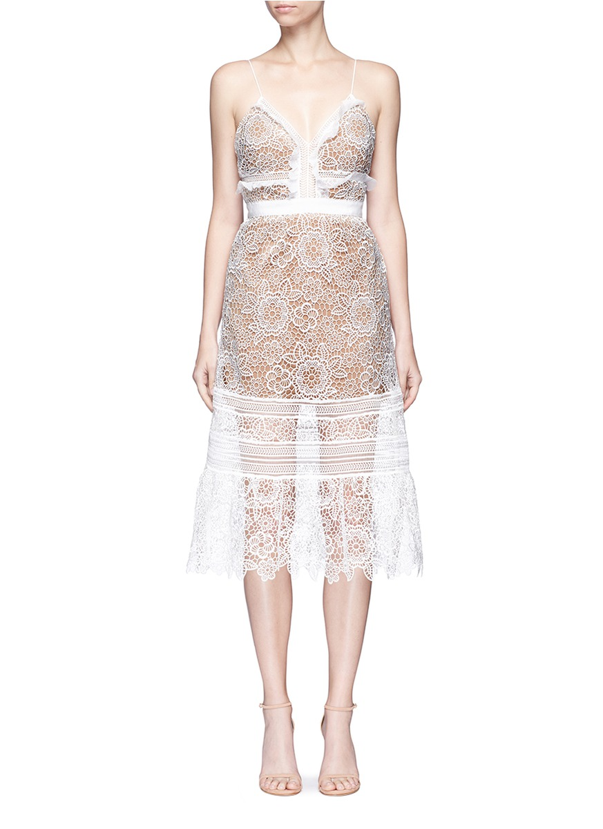 Floral Blush organza frill guipure lace midi dress by self-portrait