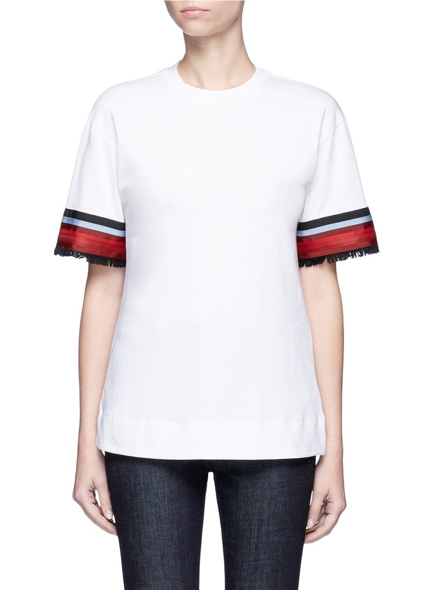 Ribbon trim cuff T-shirt by VICTORIA, VICTORIA BECKHAM