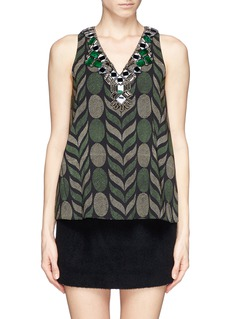ALICE + OLIVIA'Alba' embellished fern print top