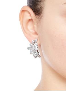 Fallon'Crescent Post' marquise cut cubic zirconia earrings