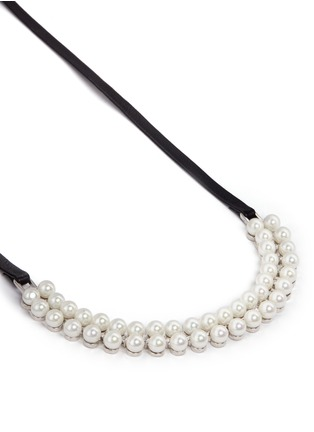 Detail View - Click To Enlarge - Fallon - 'Monarch' pearl cubic zirconia leather choker necklace