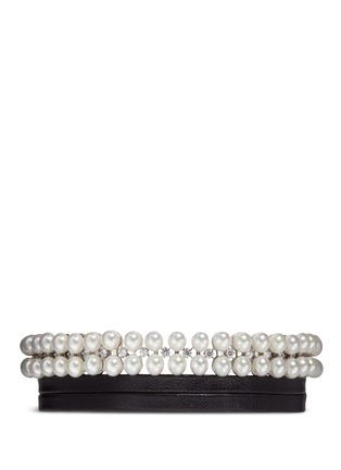 Main View - Click To Enlarge - Fallon - 'Monarch' pearl cubic zirconia leather choker necklace