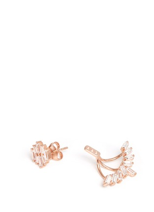 Detail View - Click To Enlarge - Fallon - 'Jagged Edge' baguette cut cubic zirconia jacket earrings