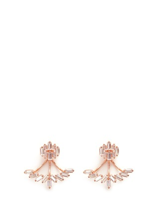 Main View - Click To Enlarge - Fallon - 'Jagged Edge' baguette cut cubic zirconia jacket earrings