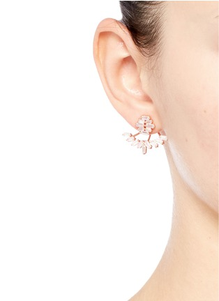 Figure View - Click To Enlarge - Fallon - 'Jagged Edge' baguette cut cubic zirconia jacket earrings