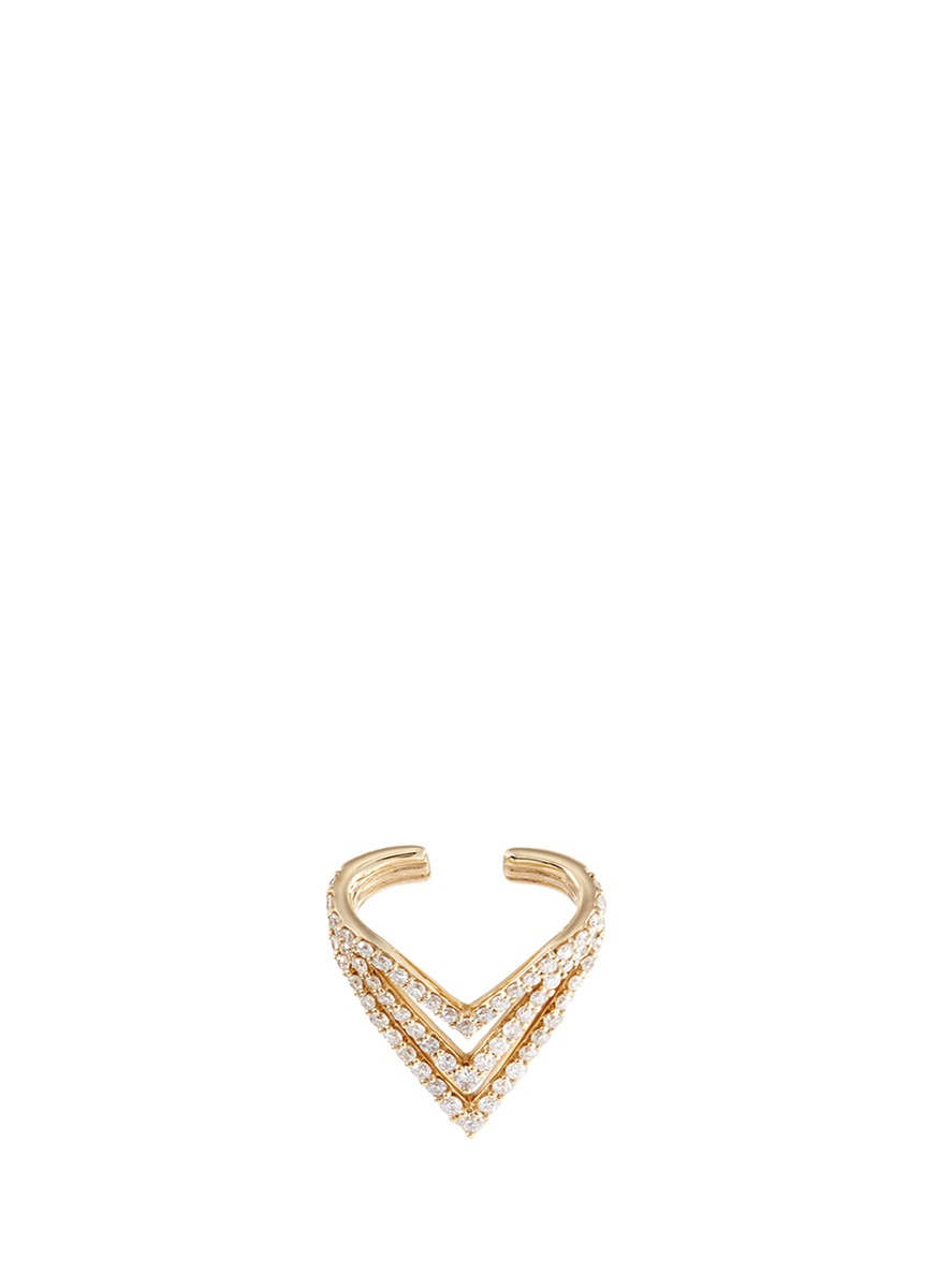 LYNN BAN 'Chevron' diamond 14k gold single ear cuff