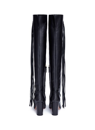 Back View - Click To Enlarge - Aquazzura - 'Whip It' fringe thigh high leather boots