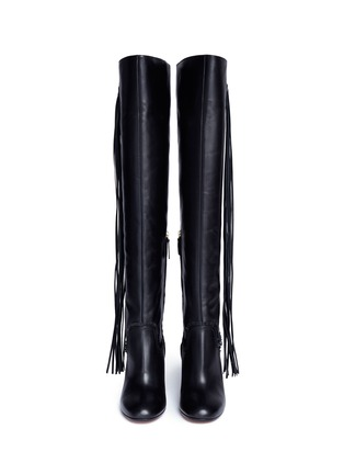 Front View - Click To Enlarge - Aquazzura - 'Whip It' fringe thigh high leather boots