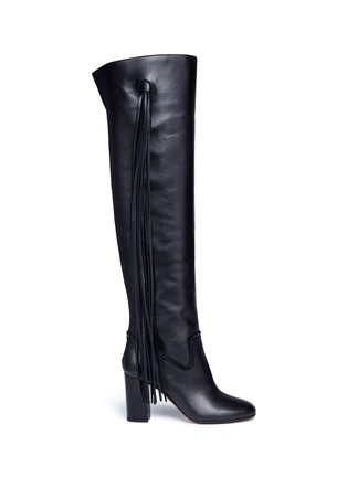 Main View - Click To Enlarge - Aquazzura - 'Whip It' fringe thigh high leather boots