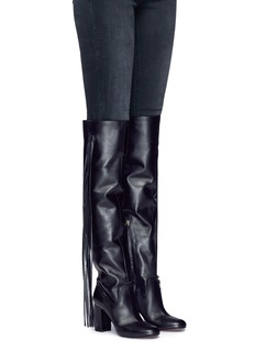 Aquazzura 'Whip It' fringe thigh high leather boots