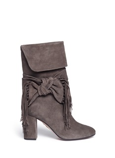 Aquazzura Fringed bow tie suede boots