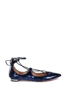 Aquazzura 'Christy' lace-up sequin flats