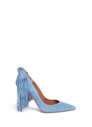 Main View - Click To Enlarge - Aquazzura - Fringed bow tie suede pumps