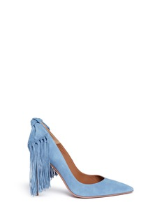 Aquazzura Fringed bow tie suede pumps