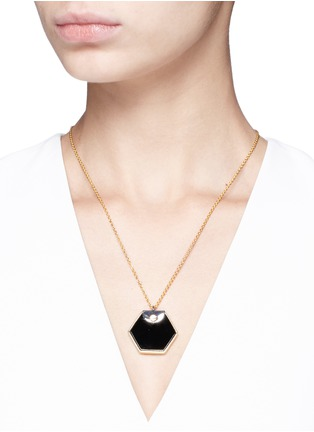 Figure View - Click To Enlarge - W.Britt - 'Hexagon' 18k gold onyx pendant necklace
