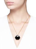 'Hexagon' 18k gold onyx pendant necklace