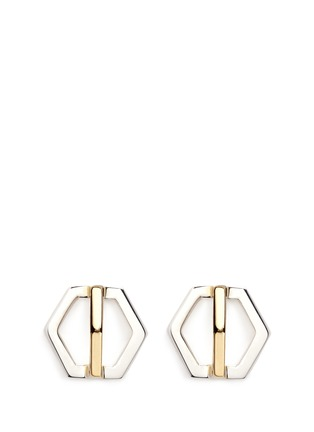Main View - Click To Enlarge - W.Britt - 'Cross Hexagon' 18k yellow gold stud earrings
