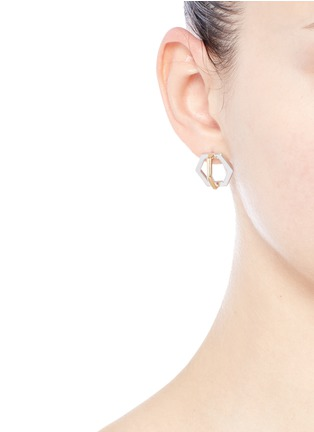 Figure View - Click To Enlarge - W.Britt - 'Cross Hexagon' 18k yellow gold stud earrings