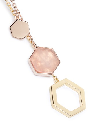 Detail View - Click To Enlarge - W.Britt - 'Hexagon Dangling' rhodonite stud rose quartz drop earrings
