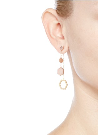 Figure View - Click To Enlarge - W.Britt - 'Hexagon Dangling' rhodonite stud rose quartz drop earrings