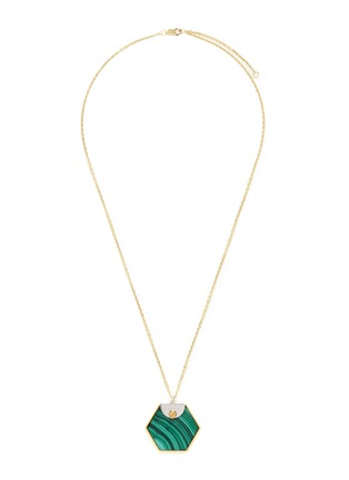 Main View - Click To Enlarge - W.Britt - 'Hexagon' malachite pendant necklace