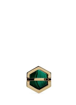 Main View - Click To Enlarge - W.Britt - 'Hexagon' inset malachite ring