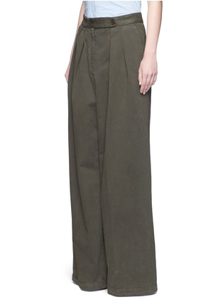 Front View - Click To Enlarge - Dries Van Noten - 'Pamplona' pleat brushed twill wide leg pants