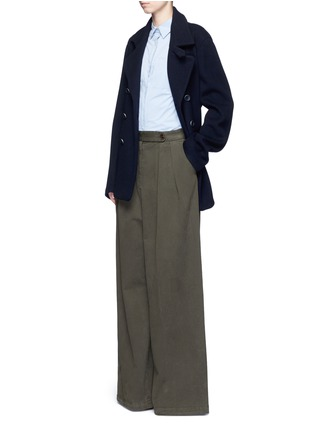 Figure View - Click To Enlarge - Dries Van Noten - 'Pamplona' pleat brushed twill wide leg pants