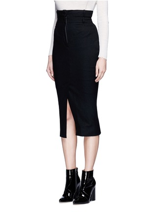 Front View - Click To Enlarge - Haider Ackermann - Front vent felted virgin wool pencil skirt
