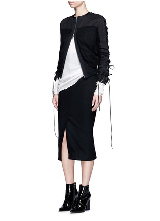 Figure View - Click To Enlarge - Haider Ackermann - Front vent felted virgin wool pencil skirt