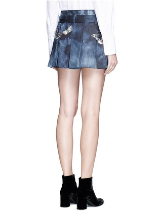 Back View - Click To Enlarge - Valentino - Butterfly embroidered tie dye print denim skort