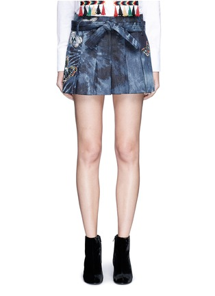 Main View - Click To Enlarge - Valentino - Butterfly embroidered tie dye print denim skort