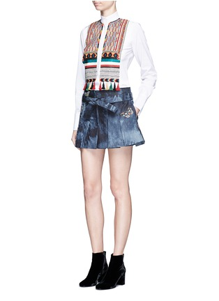 Figure View - Click To Enlarge - Valentino - Butterfly embroidered tie dye print denim skort
