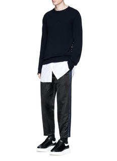Alexander McQueen Side stripe satin cropped jogging pants
