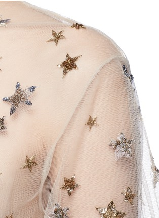 Detail View - Click To Enlarge - Valentino - Embellished metallic star tulle top
