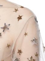 Embellished metallic star tulle top