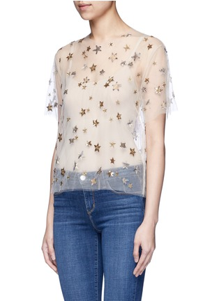 Front View - Click To Enlarge - Valentino - Embellished metallic star tulle top