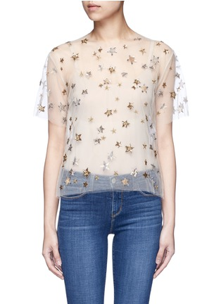 Main View - Click To Enlarge - Valentino - Embellished metallic star tulle top