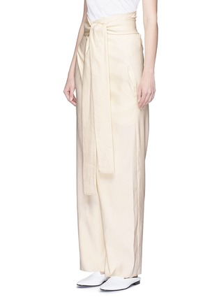 Front View - Click To Enlarge - ERIKA CAVALLINI - 'Asami' cotton-linen wrap pants