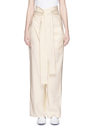 Main View - Click To Enlarge - ERIKA CAVALLINI - 'Asami' cotton-linen wrap pants