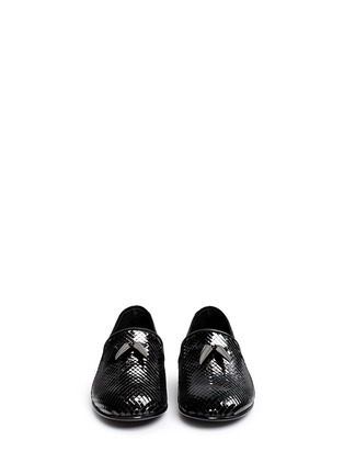 Front View - Click To Enlarge - Giuseppe Zanotti Design - 'Kevin' shark tooth scale effect leather slip-ons