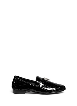 Main View - Click To Enlarge - Giuseppe Zanotti Design - 'Kevin' shark tooth scale effect leather slip-ons