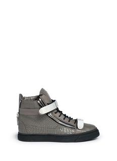 GIUSEPPE ZANOTTI DESIGN'London' croc embossed leather high top sneakers