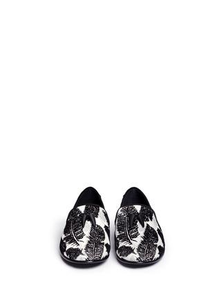 Front View - Click To Enlarge - Giuseppe Zanotti Design - 'Kevin' leaf velvet flock leather slip-ons