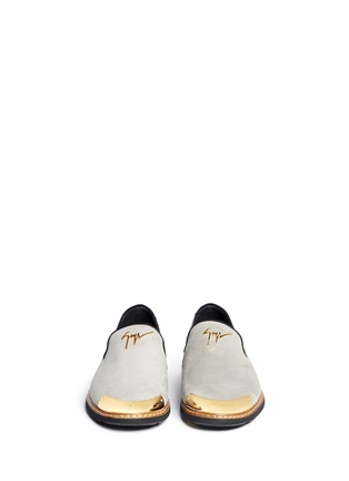Front View - Click To Enlarge - Giuseppe Zanotti Design - 'Kevin' metal cap suede slip-ons