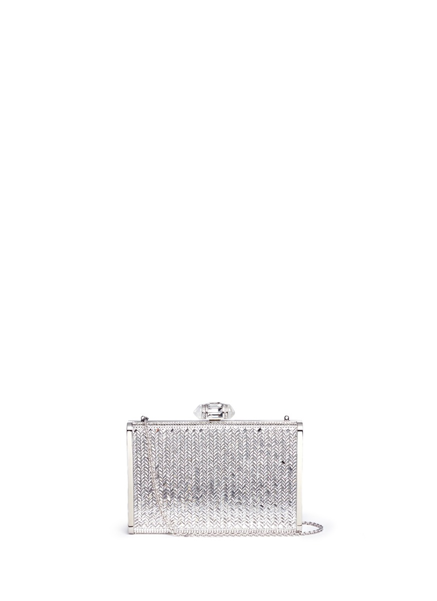 Herringbone Tall Slender Rectangle crystal pavé box clutch by Judith Leiber