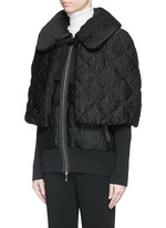 'Avery' detachable cape floral jacquard down jacket