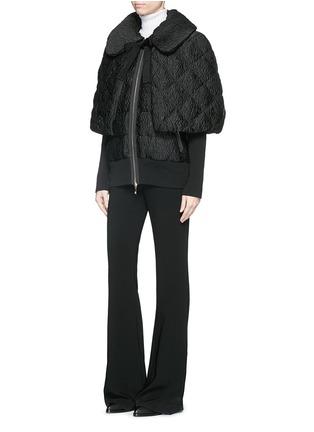Figure View - Click To Enlarge - Moncler - 'Avery' detachable cape floral jacquard down jacket
